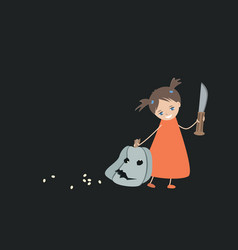 a pretty smiling little girl with a huge knife vector image