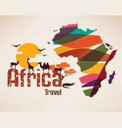 Africa travel map decrative symbol of vector