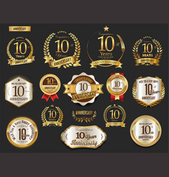 Anniversary golden laurel wreath and badges 10 vector