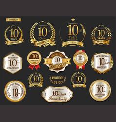anniversary golden laurel wreath and badges 10 vector image