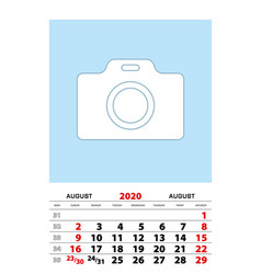August 2020 calendar planner a3 size with place vector