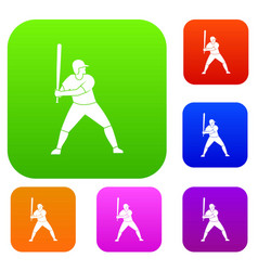 baseball player with bat set color collection vector image