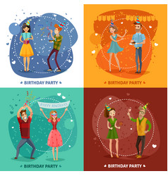 birthday party 4 icons square composition vector image