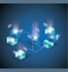 Block chain with connected crystal block miner of vector