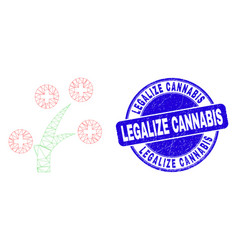 Blue distress legalize cannabis stamp seal and web vector