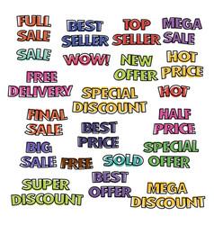 bright cartoon labels vector image
