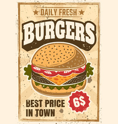 Burger colored advertising vintage poster vector