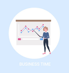 Businesswoman presenting financial graphs training vector