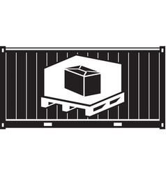 cargo container with pallet and carton vector image