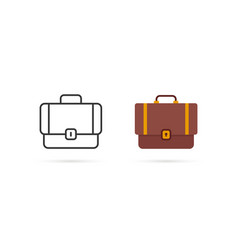cartoon and thin line suitcase two icon vector image