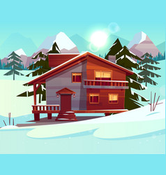 Cartoon luxury hotel chalet winter resort vector