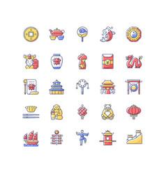 china rgb color icons set vector image