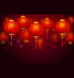 Chinese red paper glowing lantern vector