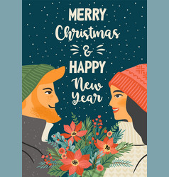 christmas and happy new year young vector image