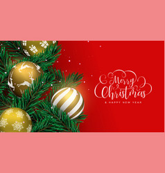 christmas gold baubles on pine tree greeting card vector image