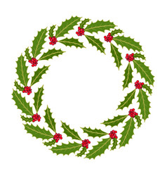 christmas holly tree wreath with leaves and red vector image