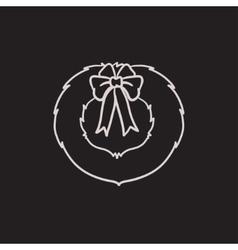 Christmas wreath sketch icon vector image vector image