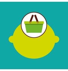 Commerce green basket citrus lemon vector