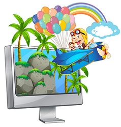 Computer screen with monkey on airplane vector