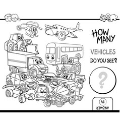 counting vehicles coloring page vector image