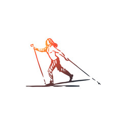 Cross country skiing winter sport concept vector