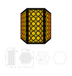 cut out template for lamp vector image