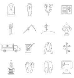 Death and funeral icons set outline style vector