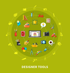 designer tools colored concept vector image