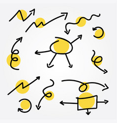 doodle arrow set vector image
