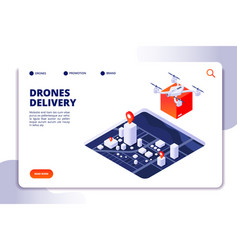 drone logistics isometric concept future delivery vector image