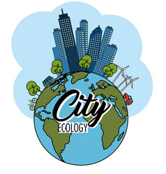 Eco friendly city design vector