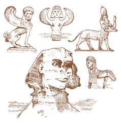 egyptian sphinx and other fantastic creatures vector image
