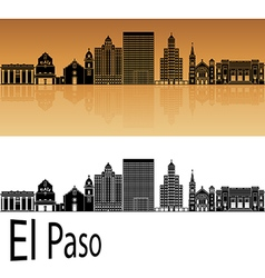 El Paso skyline in orange vector image