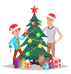 father with son decorating a christmas tree vector image