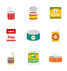 Food can icon set flat style vector