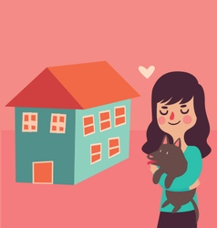 Girl and her Dog Next to their New Home vector