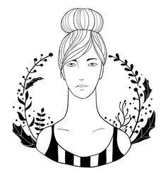 girl portrait with leaves and flowers vector image
