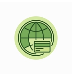 Global payment green icon vector