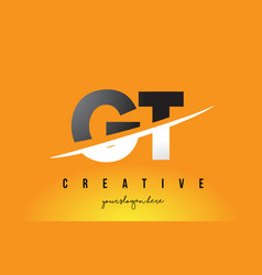 Gt g t letter modern logo design with yellow vector