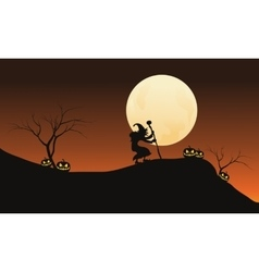 Halloween witch and full moon in hills vector