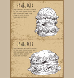 hambergers graphic art isolated on brown backdrop vector image