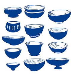 Hand drawn of cups vector image