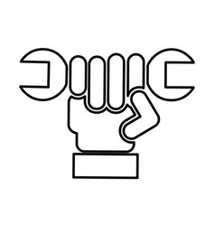 hand with wrench mechanic tool icon vector image