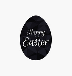 Happy easter polygonal black egg isolated vector