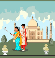 happy indian couple makes selfie vector image