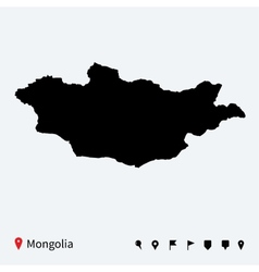 High detailed map of Mongolia with navigation pins vector image