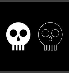 Human skull cranium icon outline set white color vector