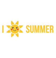 i love summer flat design vector image