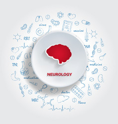 Icons for medical specialties neurology concept vector
