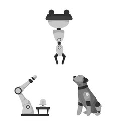 Isolated object of robot and factory icon set of vector